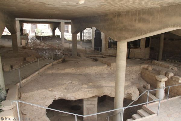 Ancient street excavations under the basilica