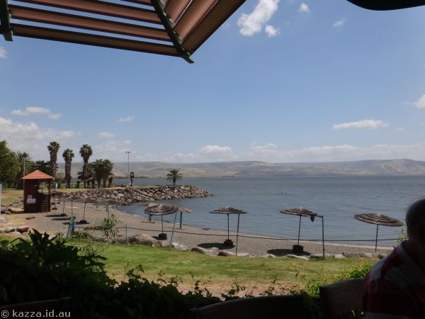 Sea of Galilee from our lunch spot - St Peter's Restaurant