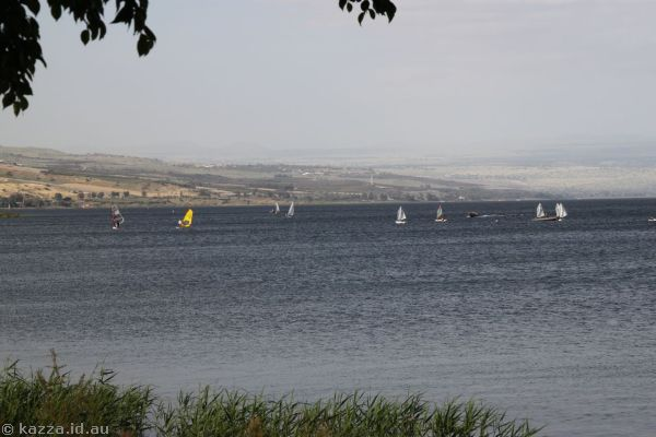 Sailing boats on the Sea of Galilee (sorry my head wasn't on straight)