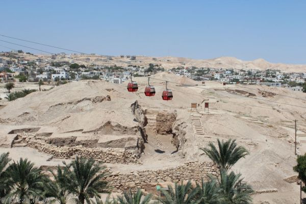 Cable car over ancient Jericho<br>Photo by Dad