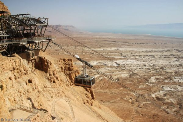 Top of the cable car at Masada