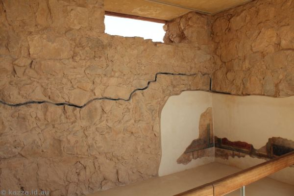 Room in Masada.  The black line was the height of the wall when they found it.  They then rebuilt the walls on top<br>Photo by Dad