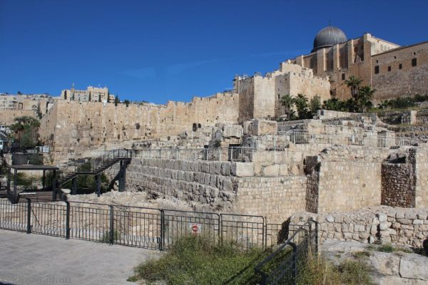 Southern wall of the Temple Mount<br>Photo by Dad