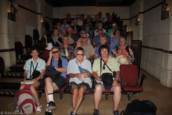 Tour group in the 3D film theatre