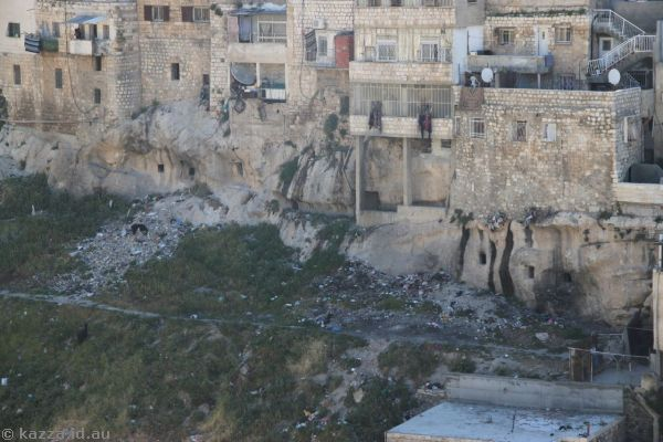 Houses on the other side of the Kidron Valley built atop ancient tombs
