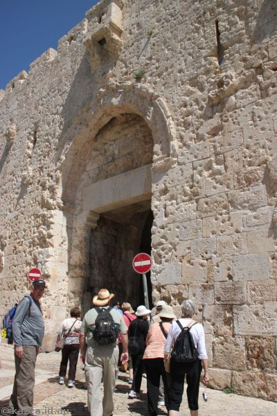 Zion Gate, complete with bullet holes from various conflicts
