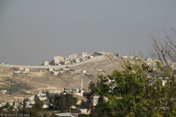 Looking across to Palestinian territory from near our hotel