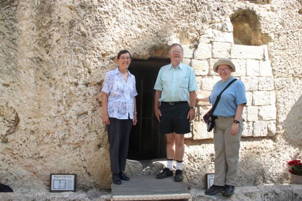 Mum, Dad and me outside the garden tomb