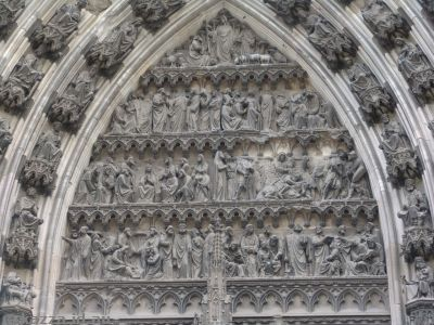 Intricate stonework on one of the side entrances of the cathedral