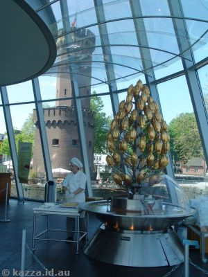 Golden chocolate fountain