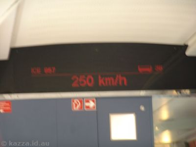 The train got up to 250 km/h