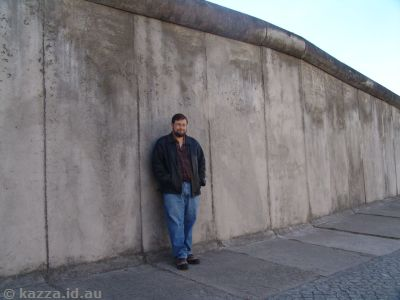 Stu standing by one of the last remnants of the Berlin Wall at Bernauer Strasse