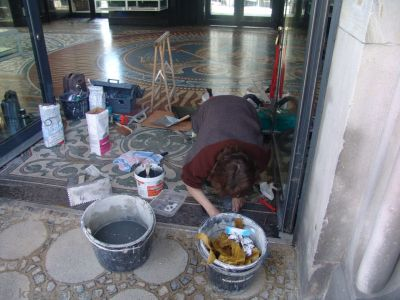 They're restoring the mosaics on the interior of the church
