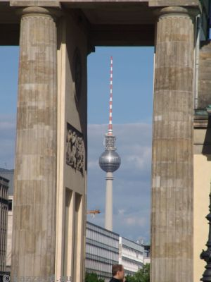 Fernsehturm through the Brandenburg Gate