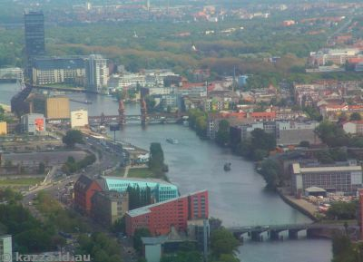 Oberbaumbrücke and the Spree from the Fernsehturm