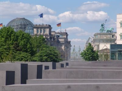 Reichstag and Brandenburg Gate over the Memorial to the Murdered Jews of Europe