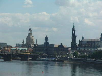 View of Dresden from the train heading out to Meißen