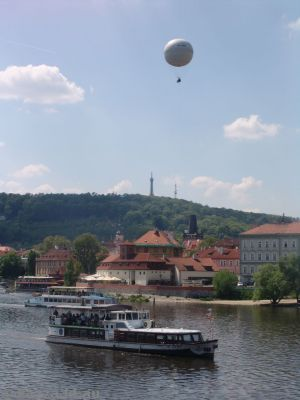 Tethered ballon over, and boats on, the Vltava River