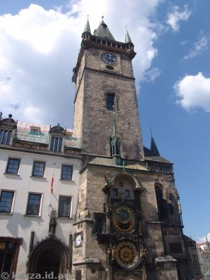 Prague Astronomical Clock on the southern wall of Old Town City Hall in the Old Town Square