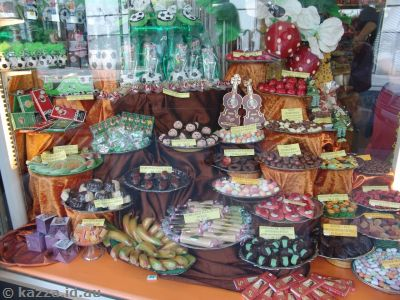 Amazing selection of sweets in a shop on Graben