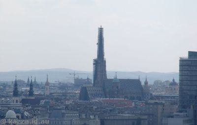View back to Stephansdom from the ferris wheel