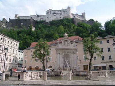 Kapitelplatz and Kapitelschwemme with Hohensalzburg Fortress on the top of the hill