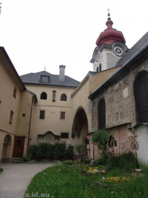 Interior courtyard of Nonnberg Abbey