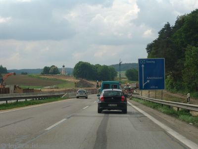One of many roadworks sites on the autobahn