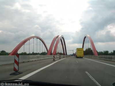 Red bridge on the autobahn