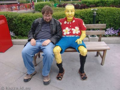 Stu with a friend on the park bench