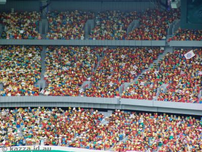 Thousands of minifigs fill the stands