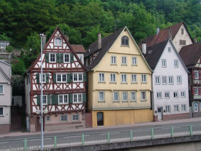 Crazy-crooked medieval buildings in Calw