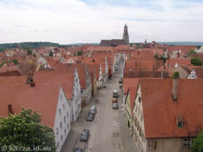 View towards Saint Georg's Church and the steeple Daniel from Löpsinger Tor
