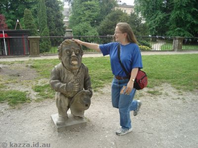 Stone dwarf statue in Mirabell Gardens