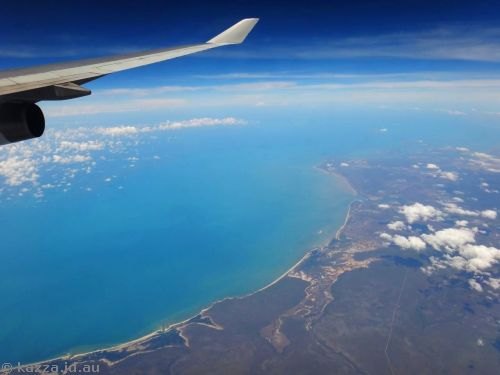 Leaving Australia - Northern Territory near Maningrida.  Three and a half hours after takeoff!