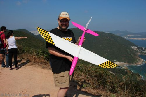 Stu holding the remote control glider