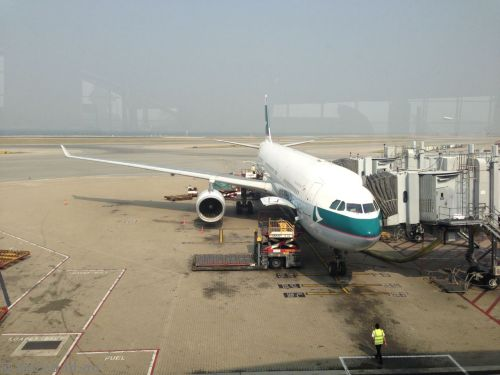 Our plane to Taipei - Cathay Pacific A330-300 - B-HLW