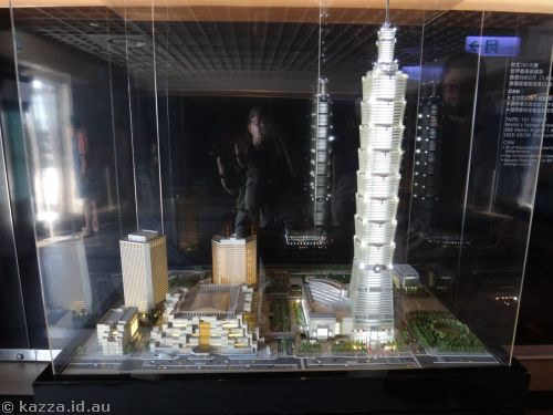 Model of World Trade Centre and Taipei 101
