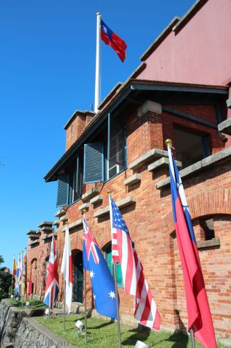 The nine flags of Fort San Domingo - Spain, The Netherlands, Koxinga Era, Qing Dynasty, Great Britain, Japan, Australia, USA, Taiwan