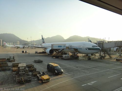 Our plane from Taipei to Hong Kong - Cathay Pacific A330-300 - B-HNI