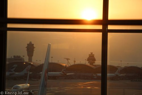 Sunset at Hong Kong airport
