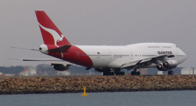 Qantas jet taxiing for takeoff