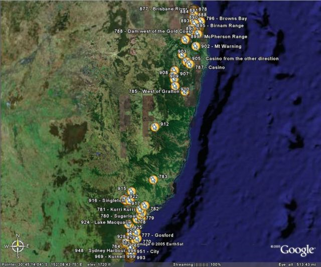 Queensland trip on Google Earth