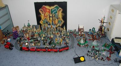 All my Harry Potter lego, with the Hogwarts logo lego mosaic