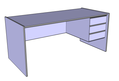 Blue-grey desk in Google SketchUp