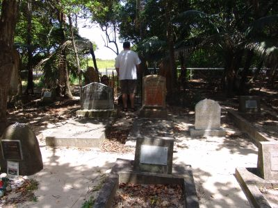 Stu looking at the old graves