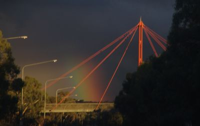 Rainbow and bridge