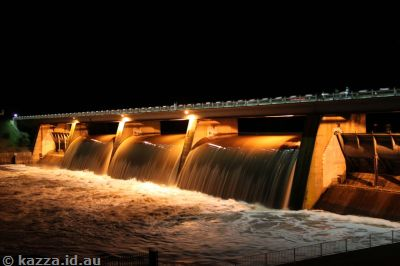 Scrivener Dam by night