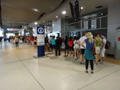 Queue for buses at Bondi Junction