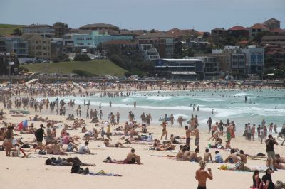 Super crowded Bondi Beach